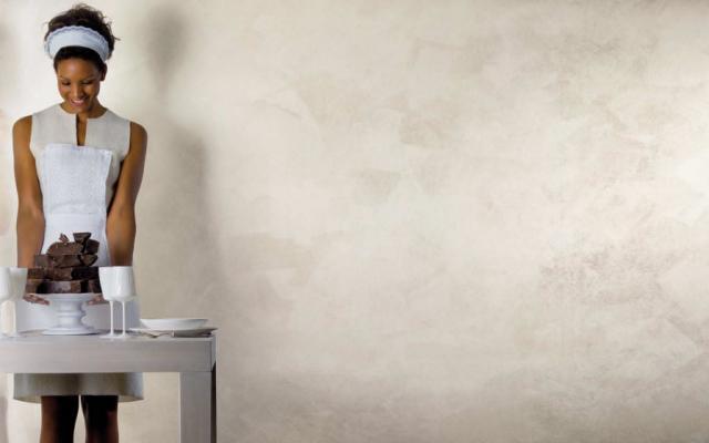 White Paint è un prodotto iridescente disponibile in 169 tonalità. Composto di scaglie di madreperla bianco-argento, illumina le tue pareti di riflessi. I segni delle pennellate sono evidenziati dall'illuminazione con luce radente.